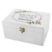 Personalised Abstract Rose White Wooden Keepsake Box - Personalise It!