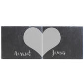 Personalised Two Hearts Slate Coaster Set - Personalise It!