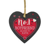 Personalised No.1 Belongs To Printed Slate Heart Decoration - Personalise It!