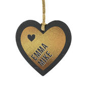 Personalised Couples Gold Printed Slate Heart Decoration - Personalise It!