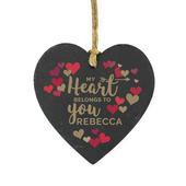 Personalised 'My Heart Belongs To You' Confetti Hearts Printed Slate Heart Decoration - Personalise It!