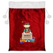 Personalised Christmas Elf Luxury Pom Pom Red Sack - Personalise It!