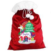 Personalised Christmas Unicorn Luxury Pom Pom Red Sack - Personalise It!