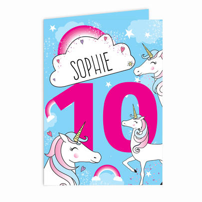 Personalised Unicorn Birthday Card Add Any Age & Name - Personalise It!