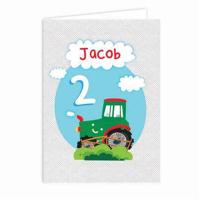 Personalised Tractor Birthday Card Add Any Age & Name - Personalise It!