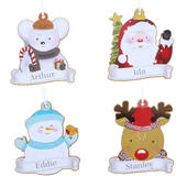 Personalised Set of Four Colourful Christmas Characters Wooden Hanging Decorations - Personalise It!
