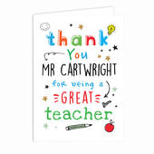 Personalised Thank You Teacher Card Add Any Name - Personalise It!