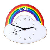 Personalised Rainbow and Cloud Shape Wooden Clock - Personalise It!
