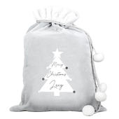 Personalised Christmas Tree Luxury Silver Grey Pom Pom Sack - Personalise It!