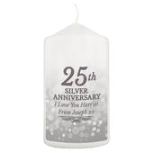 Personalised 25th Silver Anniversary Pillar Candle - Personalise It!