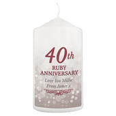 Personalised 40th Ruby Anniversary Pillar Candle - Personalise It!