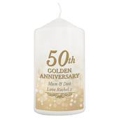 Personalised 50th Golden Anniversary Pillar Candle - Personalise It!