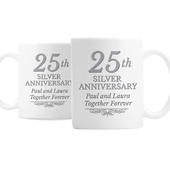 Personalised 25th Silver Anniversary Mug Set - Personalise It!