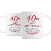 Personalised 40th Ruby Anniversary Mug Set - Personalise It!