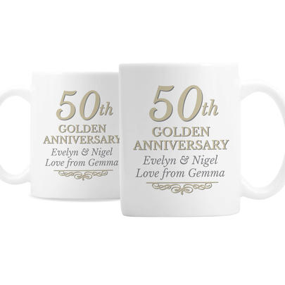 Personalised 50th Golden Anniversary Mug Set - Personalise It!