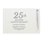 Personalised 25th Silver Anniversary Hardback Guest Book & Pen - Personalise It!