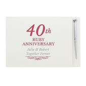 Personalised 40th Ruby Anniversary Hardback Guest Book & Pen - Personalise It!