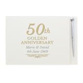 Personalised 50th Golden Anniversary Hardback Guest Book & Pen - Personalise It!