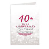 Personalised 40th Ruby Anniversary Card Add Any Name - Personalise It!