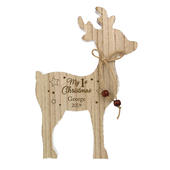 Personalised '1st Christmas' Rustic Wooden Reindeer Decoration - Personalise It!