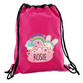 Personalised Cute Bunny Pink Swim & Kit Bag - Personalise It!