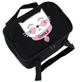 Personalised Cute Cat Black Lunch Bag - Personalise It!