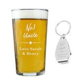 Personalised No.1 Pint glass & Bottle Opener Set - Personalise It!