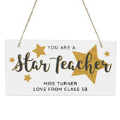 Personalised You Are A Star Teacher Wooden Sign - Personalise It!