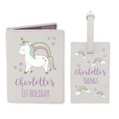 Personalised Baby Unicorn Cream Passport Holder & Luggage Tag Set - Personalise It!