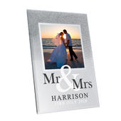 Personalised Mr & Mrs 4x4 Glitter Glass Photo Frame - Personalise It!