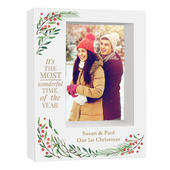 Personalised 'Wonderful Time of The Year Christmas' 5x7 Box Photo Frame - Personalise It!
