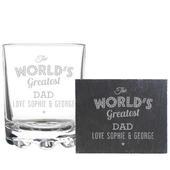 """Personalised """"""""The Worlds Greatest"""""""" Whisky Tumbler & Slate Coaster Set - Personalise It!"""