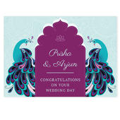 Personalised Peacock Wedding Card Add Any Name - Personalise It!