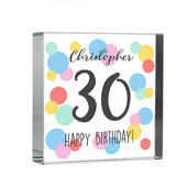 Personalised Birthday Colour Confetti Large Crystal Token - Personalise It!
