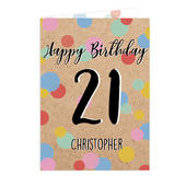 Personalised Colour Confetti Birthday Card Add Any Age & Name - Personalise It!