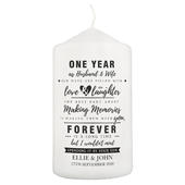 Personalised Anniversary Pillar Candle - Personalise It!