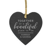 Personalised Together Slate Heart Decoration - Personalise It!