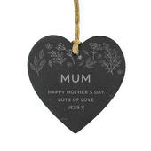 Personalised Floral Slate Heart Decoration - Personalise It!