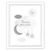 Personalised New Baby Moon & Stars White Framed Print - Personalise It!