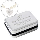 Personalised Anniversary Silver Box and Pearl Bracelet - Personalise It!