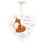 Personalised Mummy and Me Fox Large Wooden Heart Decoration - Personalise It!