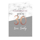 Personalised Marble and Rose Gold Birthday Card Add Any Age & Name - Personalise It!