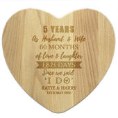 Personalised 5th Anniversary Heart Chopping Board - Personalise It!