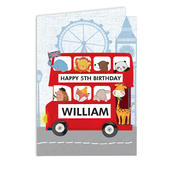 Personalised London Animal Bus Birthday Card Add Any Name - Personalise It!
