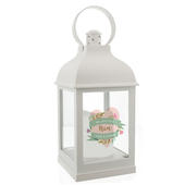 Personalised Floral Heart Mothers Day White Lantern - Personalise It!