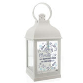 Personalised Christmas Frost White Lantern - Personalise It!