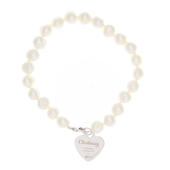 Personalised Christening Swirls & Hearts White Freshwater Pearl Bracelet - Personalise It!