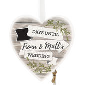 Personalised White Arrow Banner Chalk Countdown Wooden Heart Decoration - Personalise It!
