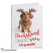Personalised Rachael Hale Christmas Dachshund Through the Snow Card Add Any Name - Personalise It!