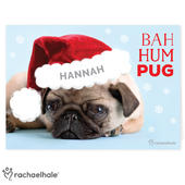 Personalised Rachael Hale Christmas Bah Hum Pug Card Add Any Name - Personalise It!